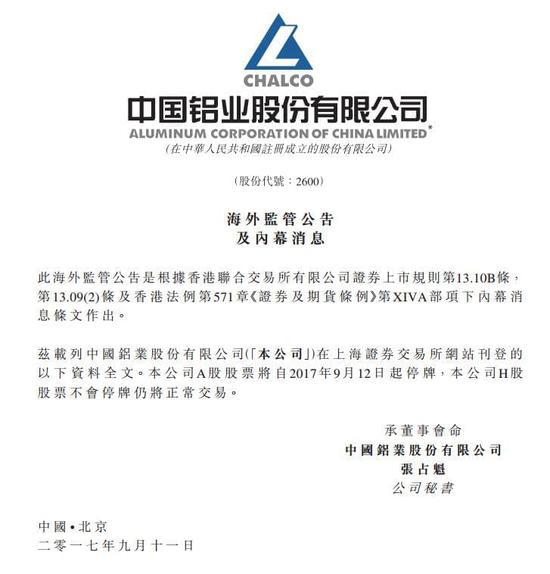 中国铝业:A股股票12日起停牌 H股股票仍正常交易