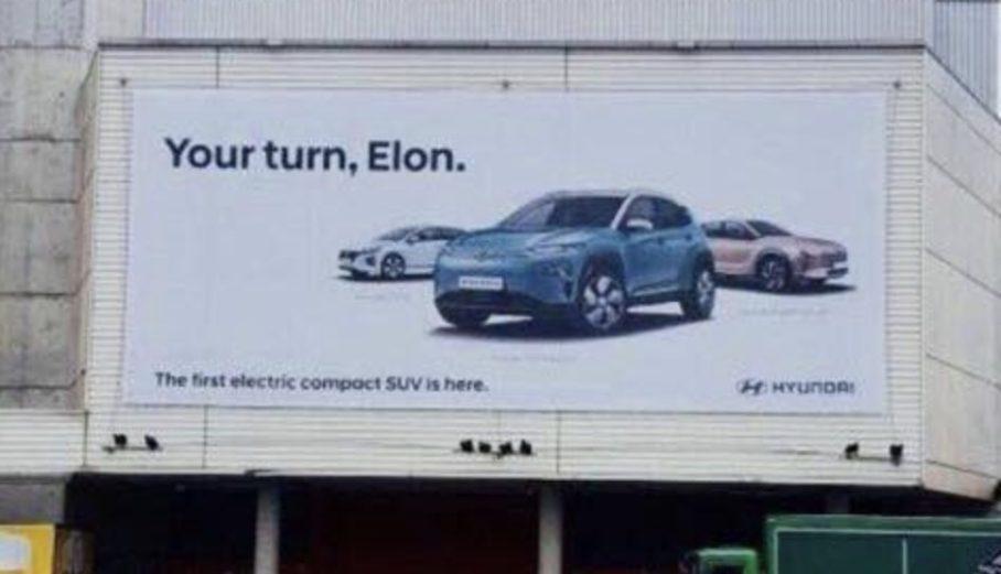 特斯拉再遇挑衅 现代Kona欧洲广告牌直指马斯克