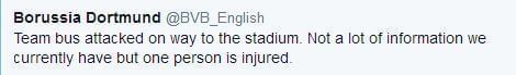 多特英文官推:球队遭遇一起攻击事件,一人受伤,但未了解到更多信息