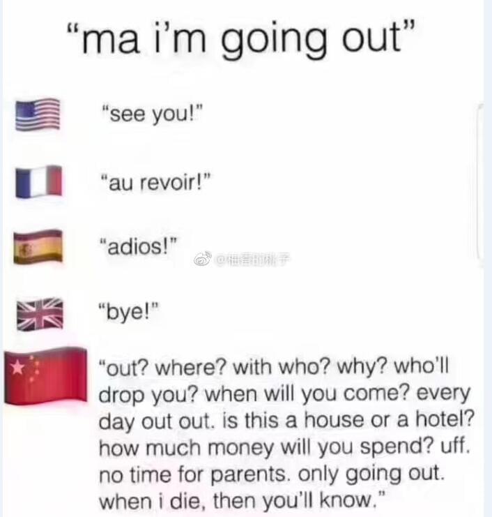 """世界各国的母亲对""""妈,我要出去了!""""的回应。"""
