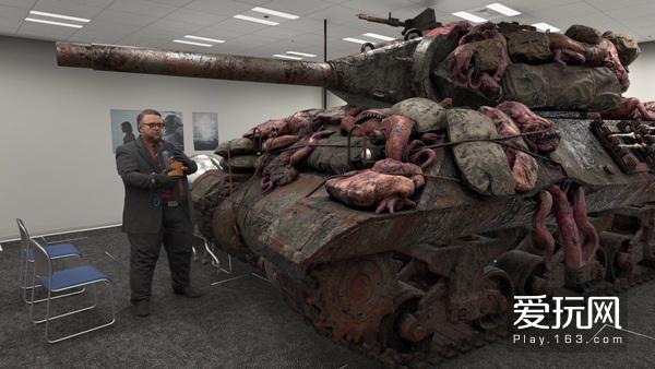 11拍摄预告片所用的道具,可以看到坦克身上挂满内脏