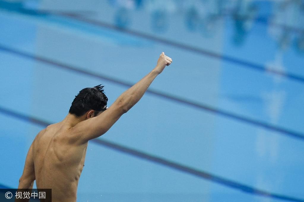 宁泽涛在全运会100自卫冕夺冠。