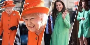 伊丽莎白女王和凯特王妃出行 橙绿配超抢眼