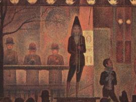 修拉《巡演的马戏团》中的视觉幻象