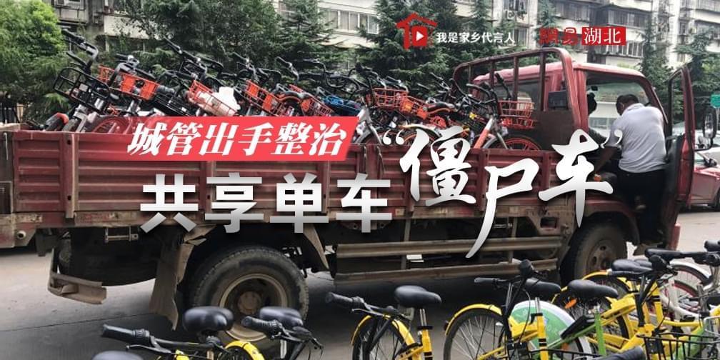 """城管出手整治共享单车""""僵尸车"""""""