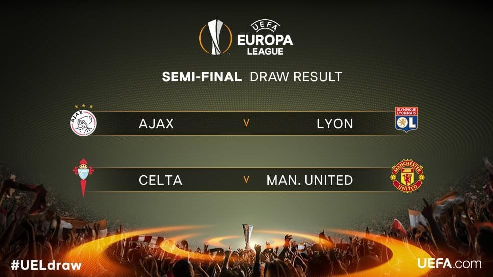 欧联半决赛对阵:曼联VS塞尔塔 阿贾克斯VS里昂