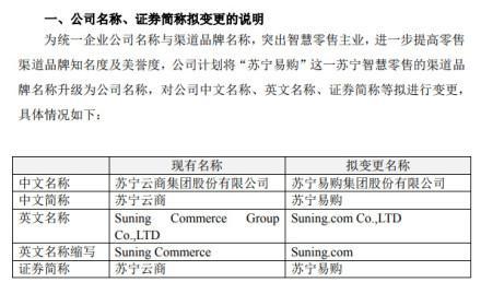 苏宁云商:拟变更公司名称、证券简称