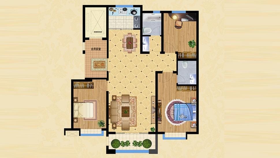 B1户型三室两厅两卫约123㎡