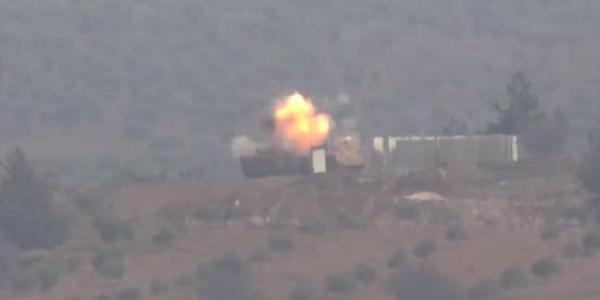 土耳其豹2A4坦克遭库尔德武装击毁