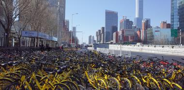 春节时的北京:人走了 留下满城共享单车
