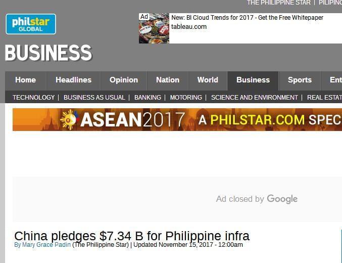 菲媒: 中国将向菲律宾提供73.4亿美元贷款和援助