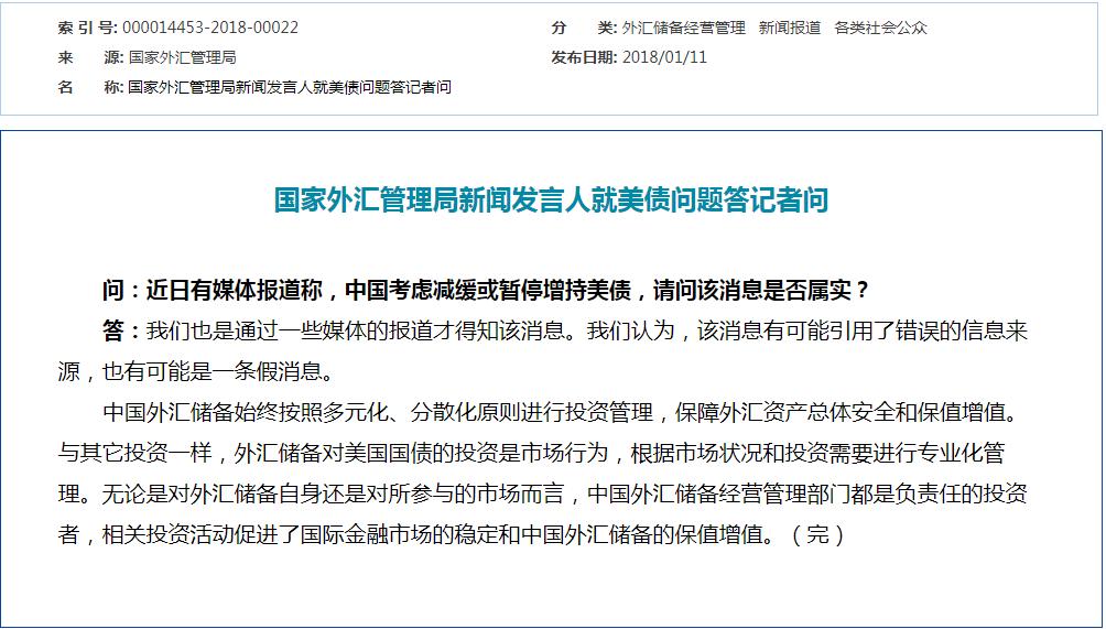 """外管局回应""""中国考虑减缓或暂停增持美债"""""""