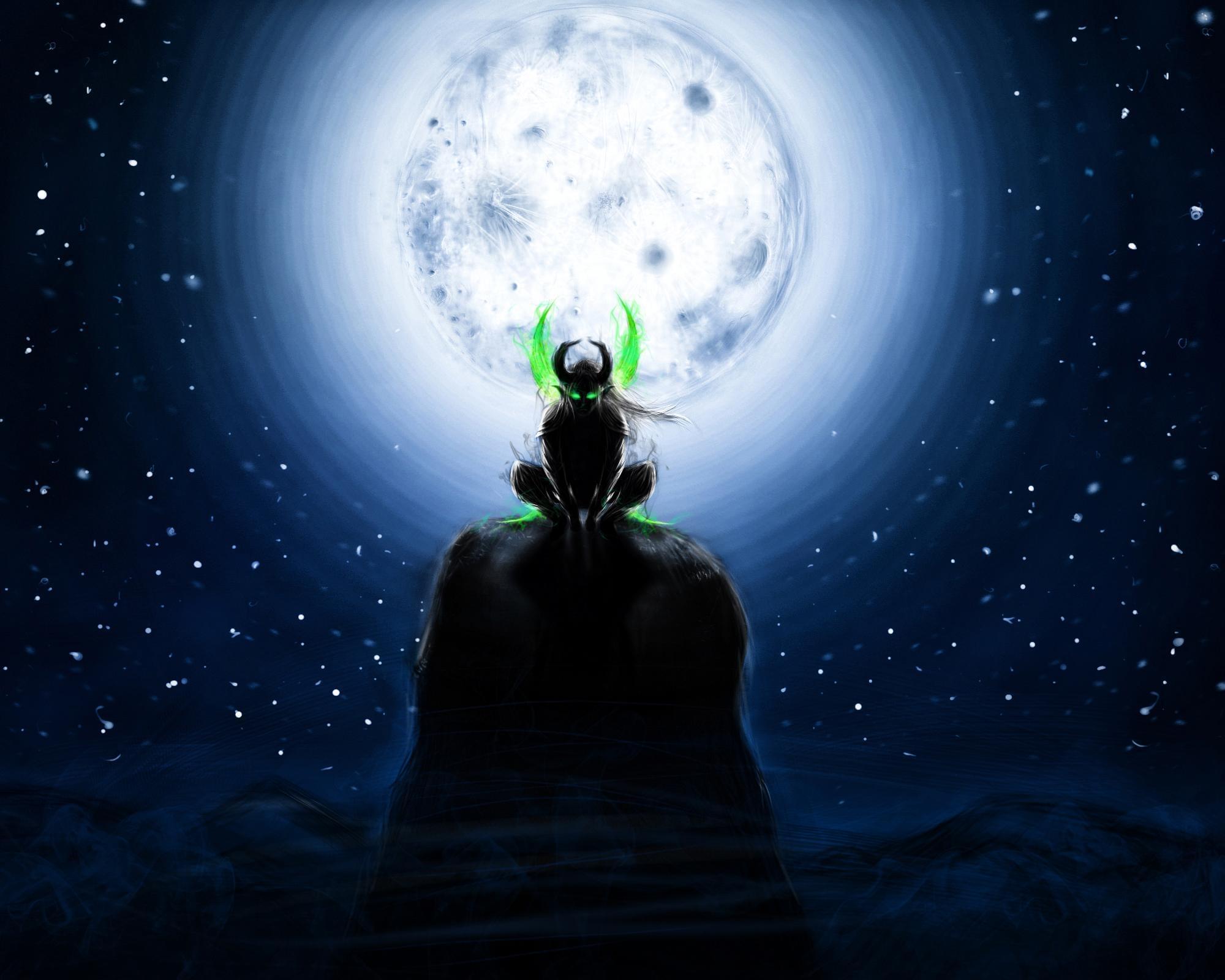 魔兽玩家原创画作:月下的忍者恶魔猎手