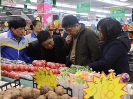 山西省食药局调研临猗县放心肉菜示范超市创建