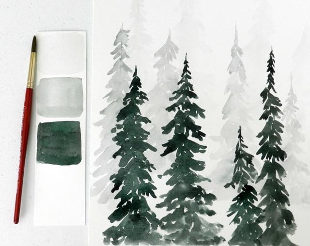 一学即会 教你轻松用水彩画树林