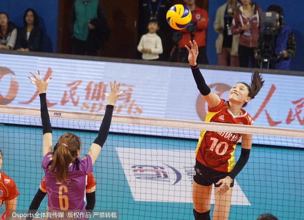 女排总决赛首回合天津客场3-1上海 李盈莹砍31分