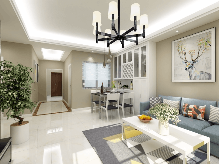 五建新街坊89㎡两居室装修设计效果图