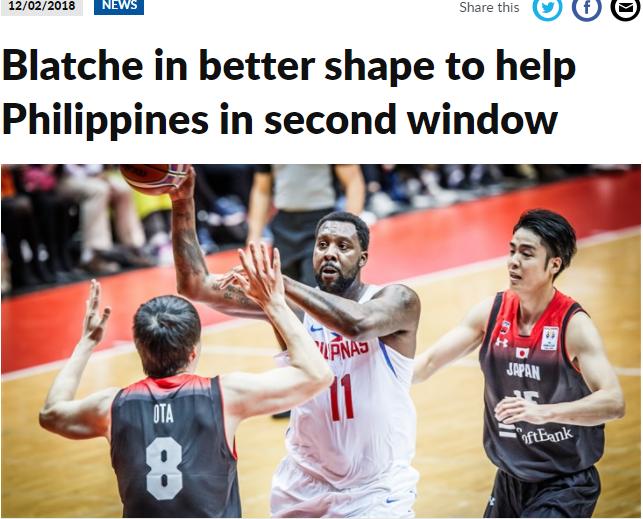 FIBA:布拉彻迎来更好状态 世预赛助菲律宾战澳日