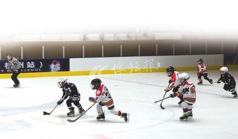 2018青少年冰球挑战赛杭州首战 娇小萌娃变身冰球骑士