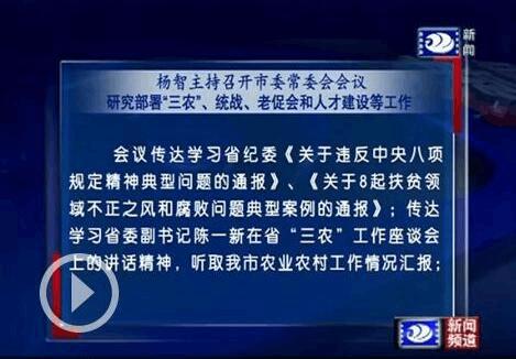 杨智主持召开市委常委会会议 部署人才建设等工作