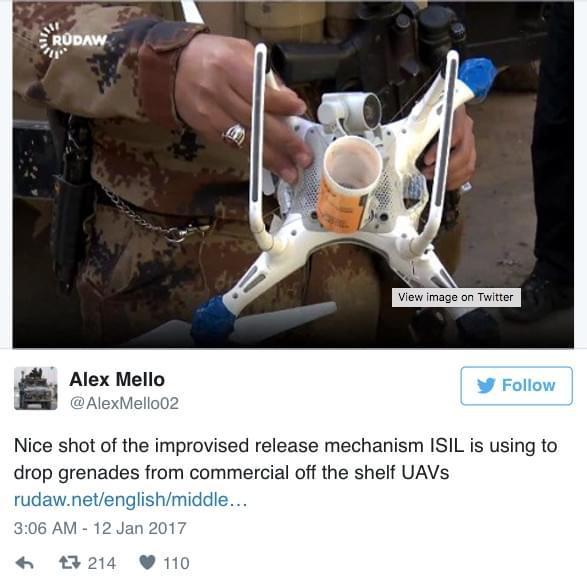 自杀机的突击 大疆无人机被改装为恐惧兵器