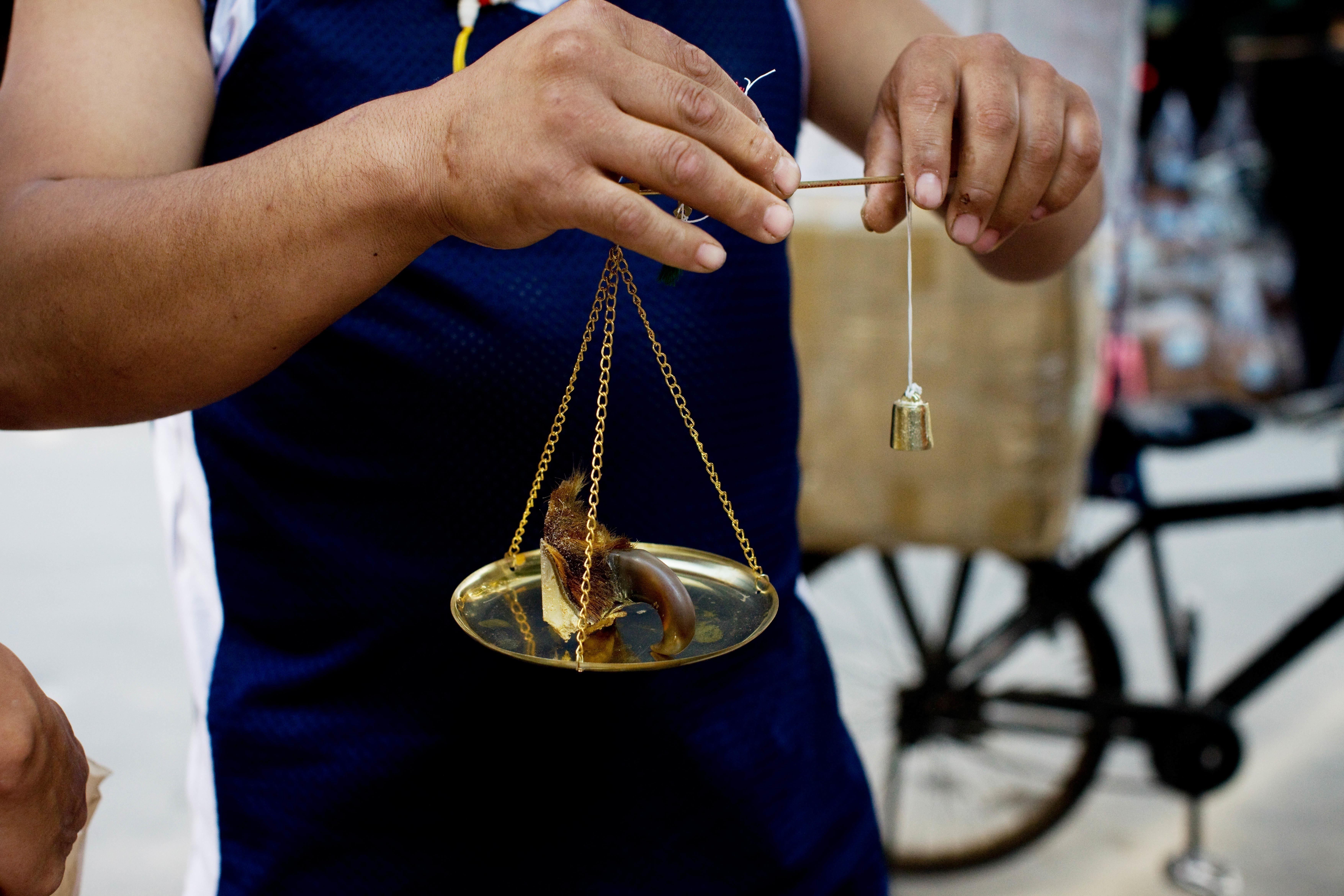 广州市清平中药材市场,一位商人正在出售虎爪,售价高达上千美元。 /CFP