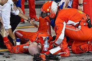 险!莱科宁撞倒F1技师