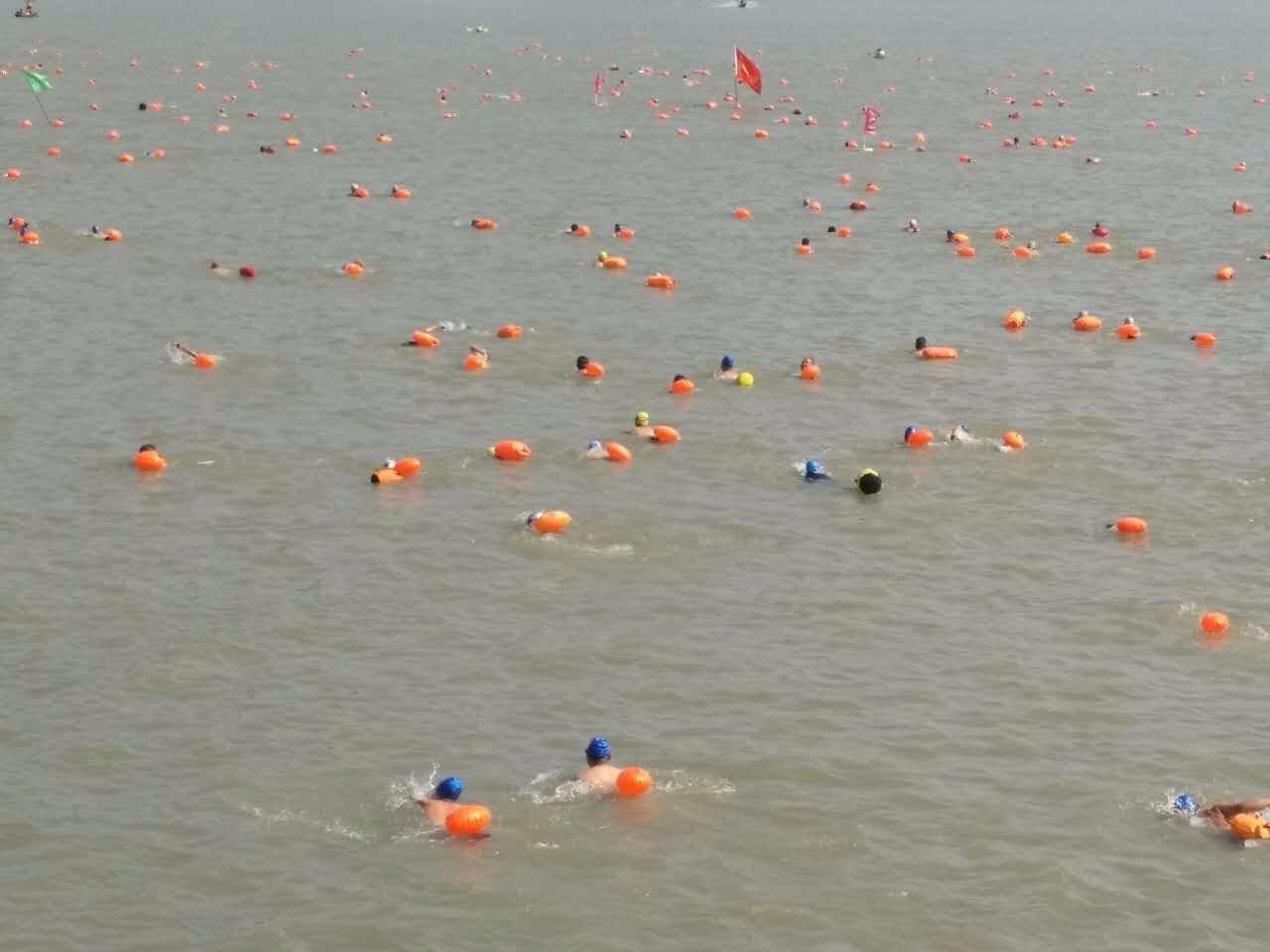 2000多名健儿横渡钱塘江  小潮汛里感受游泳的快感