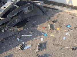 福州面包车追尾工程车 车头粉碎车内血迹斑斑