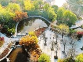 运城市航天公园冬景宛如一幅美丽画卷
