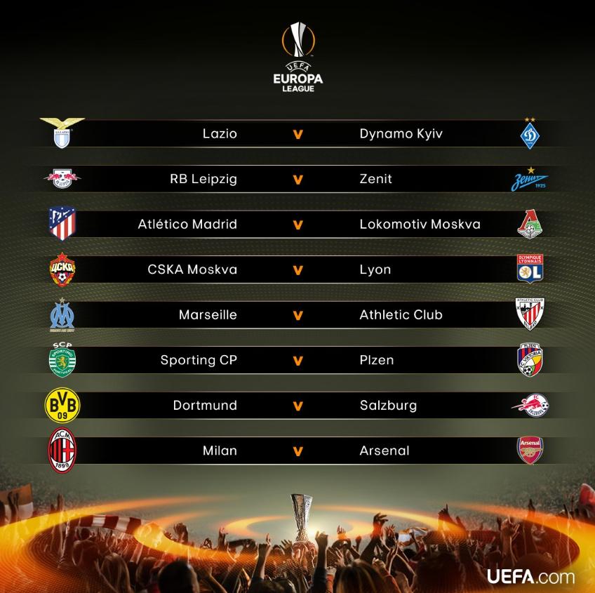 欧联1/8决赛对阵:阿森纳PK米兰 多特马竞上签