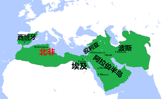 阿拉伯帝国倭马亚王朝的版图,整个地中海南岸尽入囊中