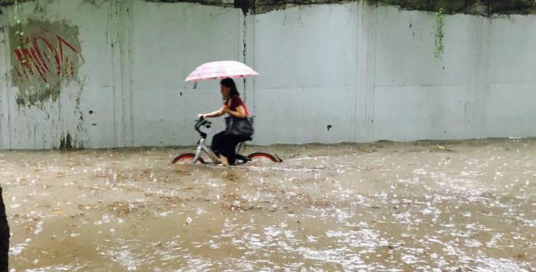水淹车轮!深圳女子高技术骑单车上班