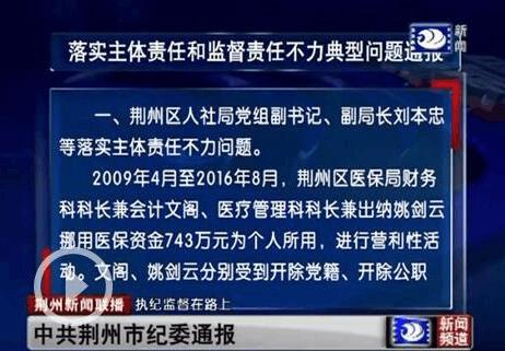 荆州通报6起落实主体责任和监督责任不力典型问题