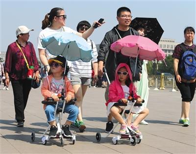 顶着烈日的北京游客