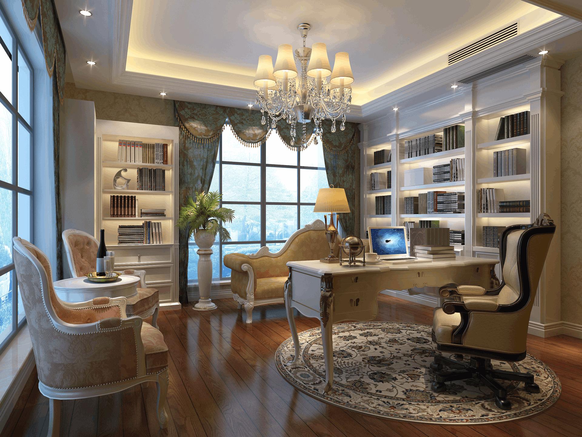 海马公园170㎡四居室装修设计效果图