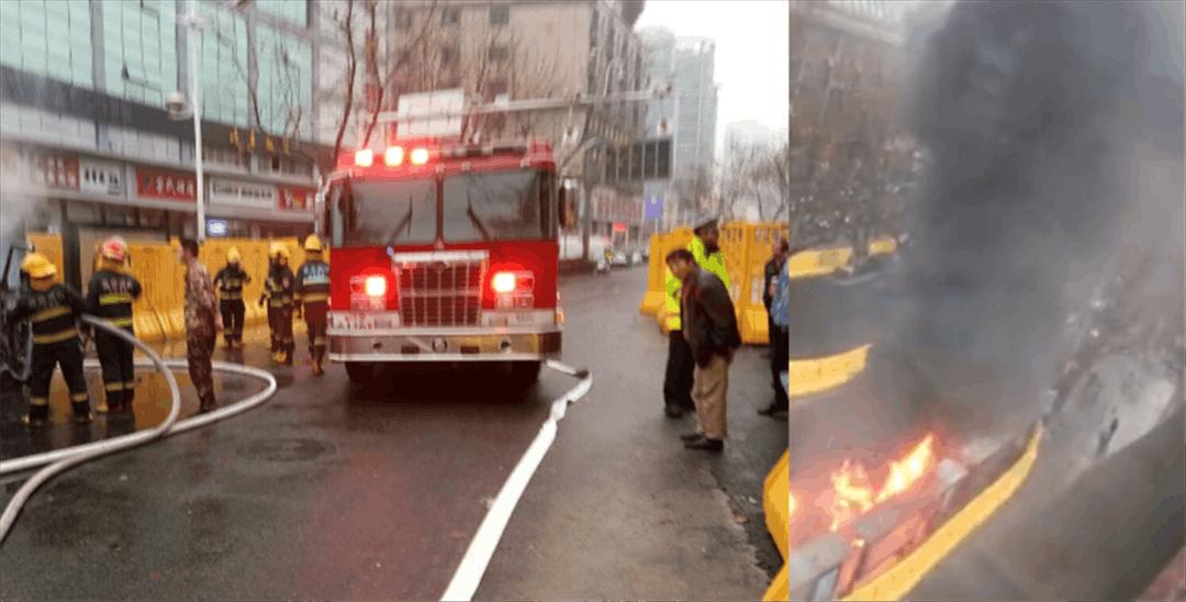 网爆珠江路一学校门口小车突然爆炸