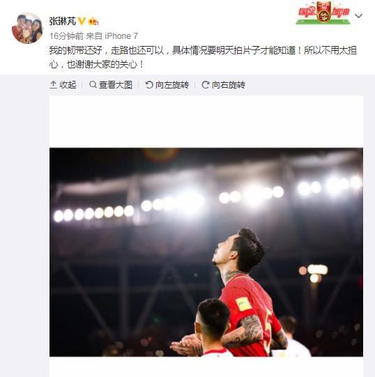 张琳�M多谢球迷关心:韧带还好 拍片后才知具体情况