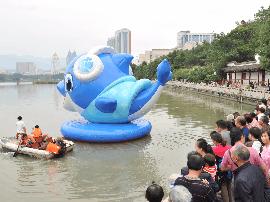 """第三届""""海丝""""国际旅游节吉祥物蓝海豚亮相福州"""