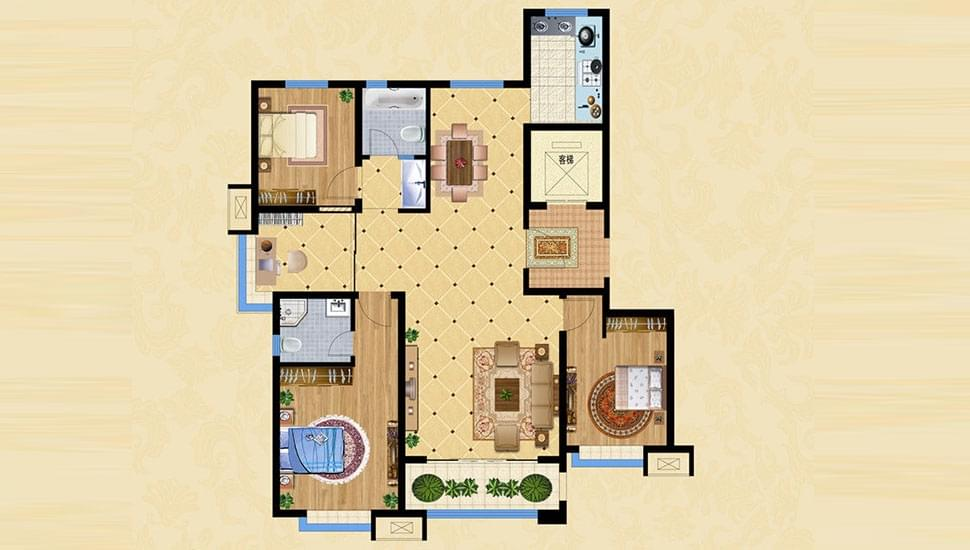 A2四室两厅两卫约138㎡