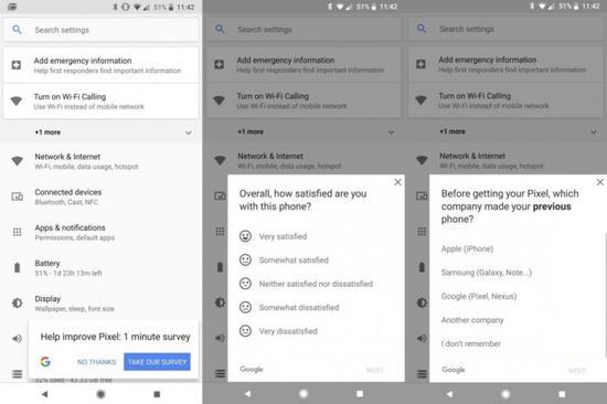谷歌Pixel 2客户调查显示在手机的设置菜单中