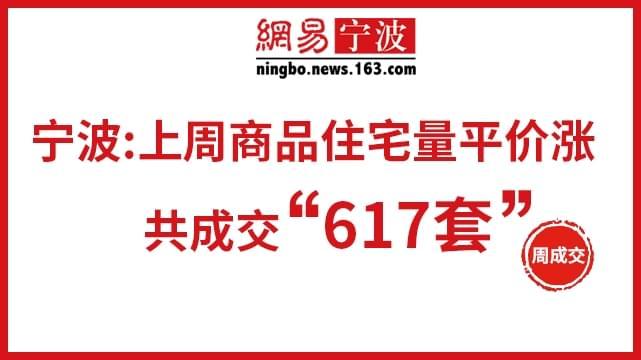 宁波:上周商品住宅量价齐涨 共成交617套