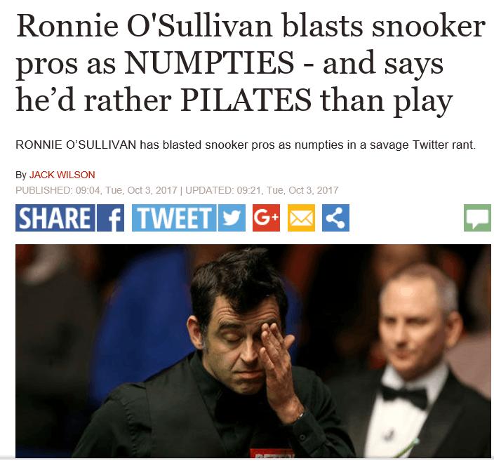 奥沙利文:七成球员就是白痴 同他们打球浪费时间