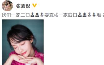张嘉倪承认怀二胎:一家三口要变成一家四口啦