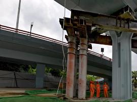 福州地铁穿越凤坂河桥 距离桥桩最窄处仅余0.25米