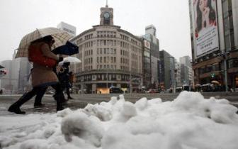 日本东京突降罕见大雪 取消约250班航班