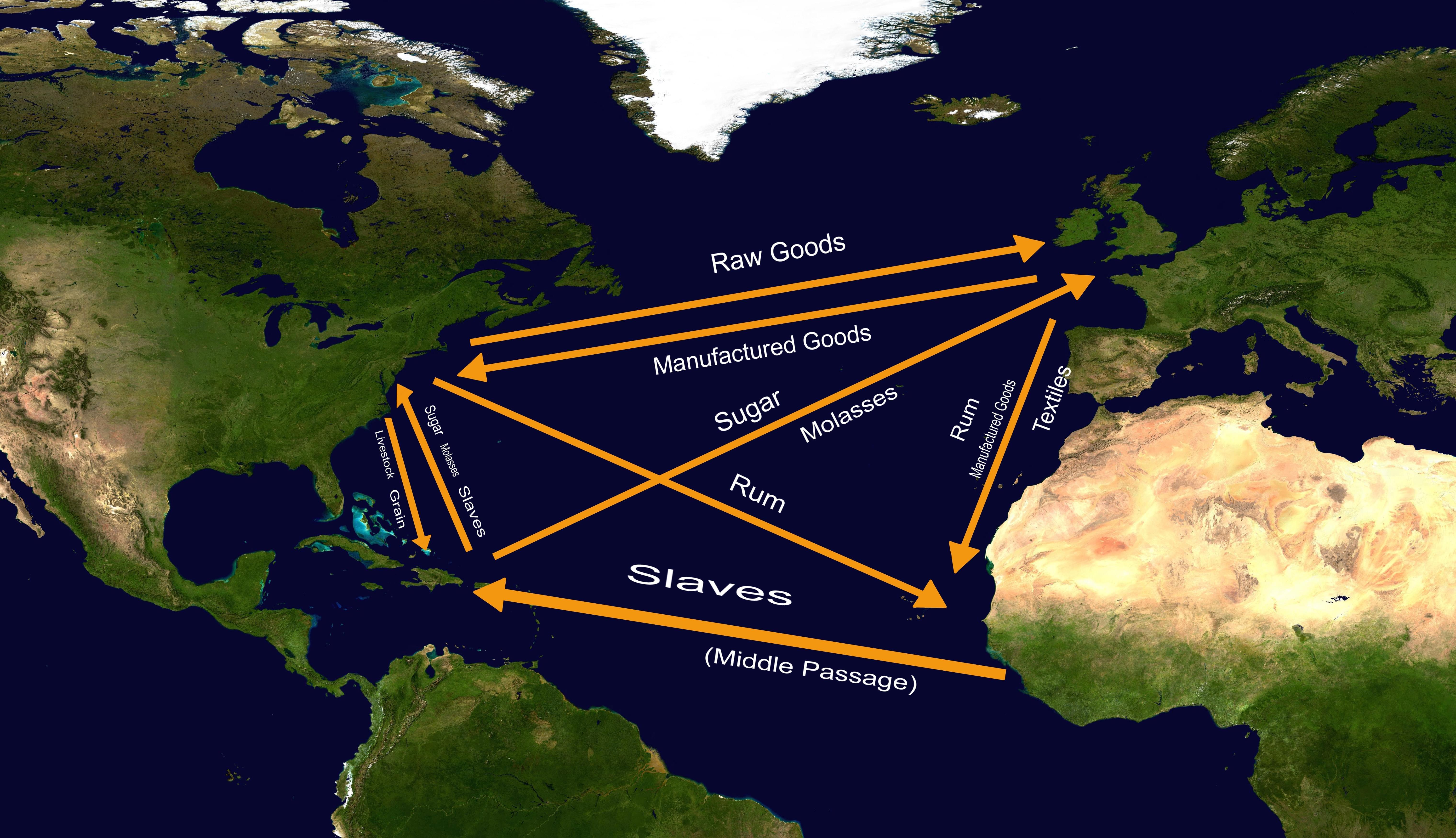 三角贸易,也即奴隶贸易。/Wikipedia