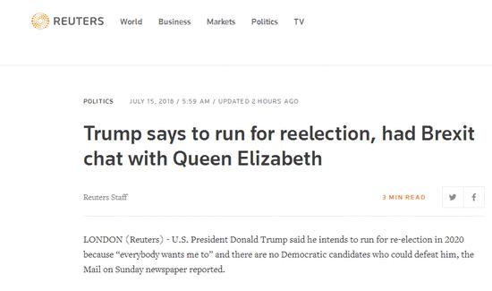 外媒:特朗普称2020竞选连任 因民主党没人能打败他