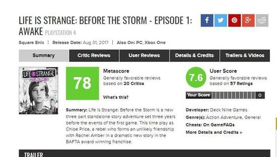 《奇异人生:风暴前夕》评分公布 steam好评如潮