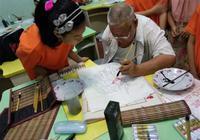 成都独臂老人办画室 免费教娃娃学书画